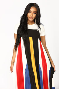 Colorful Character Stripe Dress - Multi Color