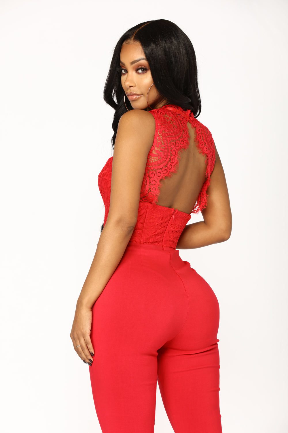 Without A Doubt Lace Jumpsuit - Red