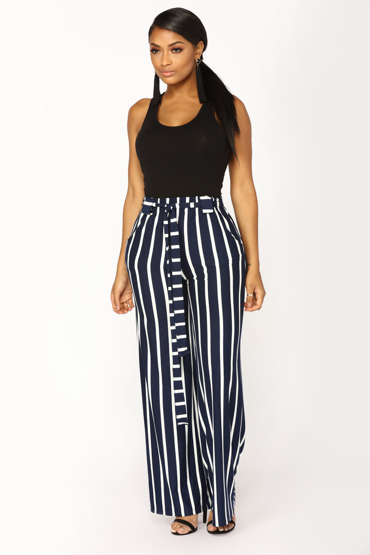 Heather Striped High Rise Pants - Navy/White