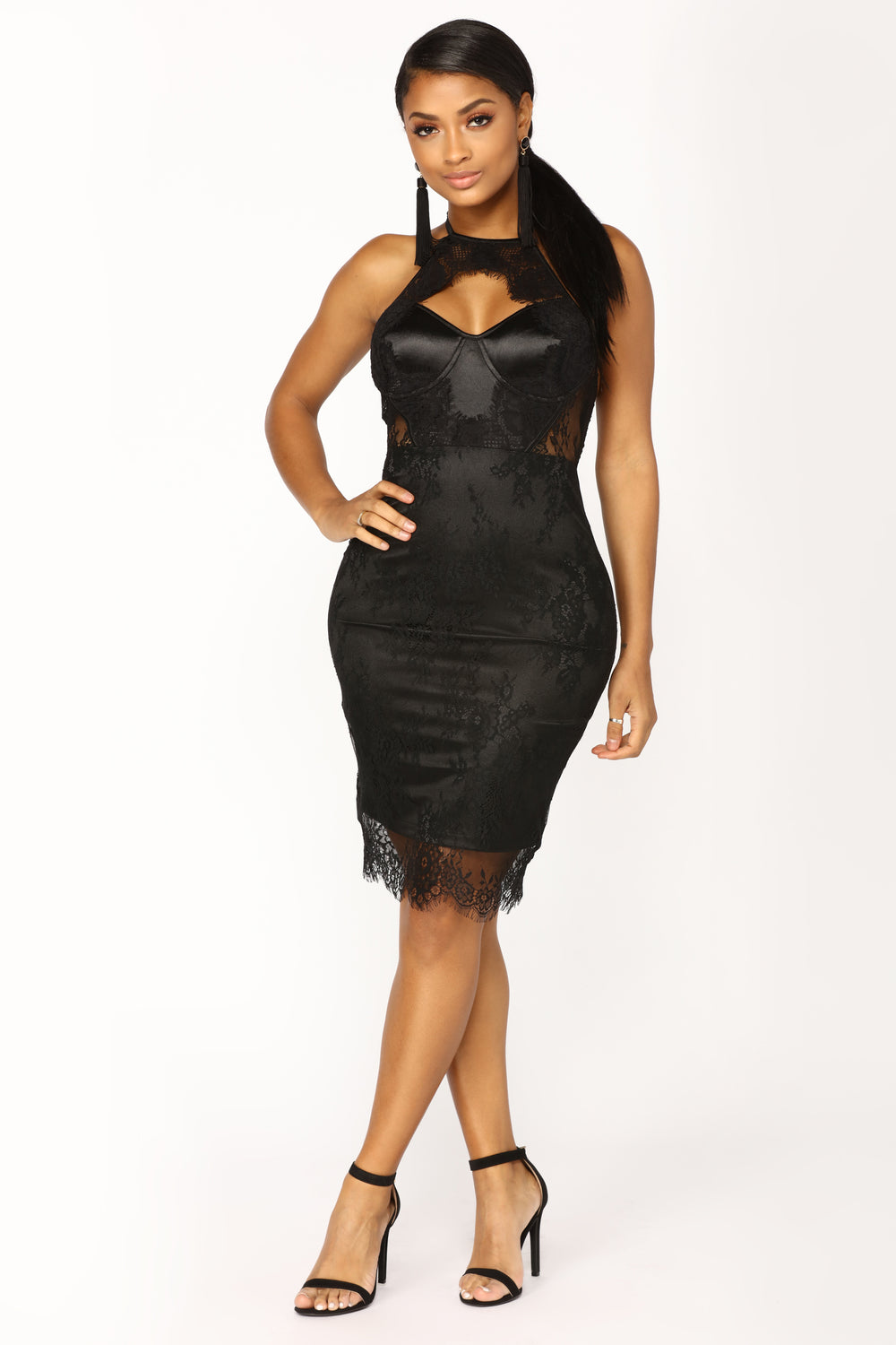 Without Warning Lace Dress - Black