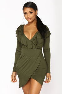 Aggie Ruffle Dress - Olive