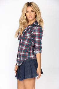 Soul Mate Plaid Top II - Burgundy/Combo