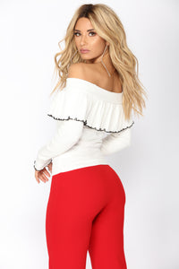 Go All Night Long Sleeve Top - Ivory/Black