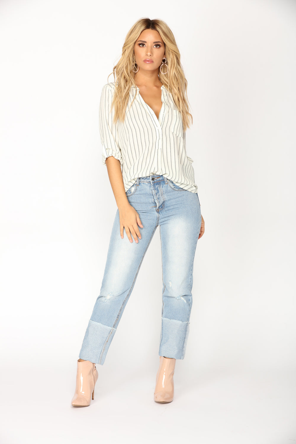 Keep Up With Me Boyfriend Jeans - Light Blue Wash