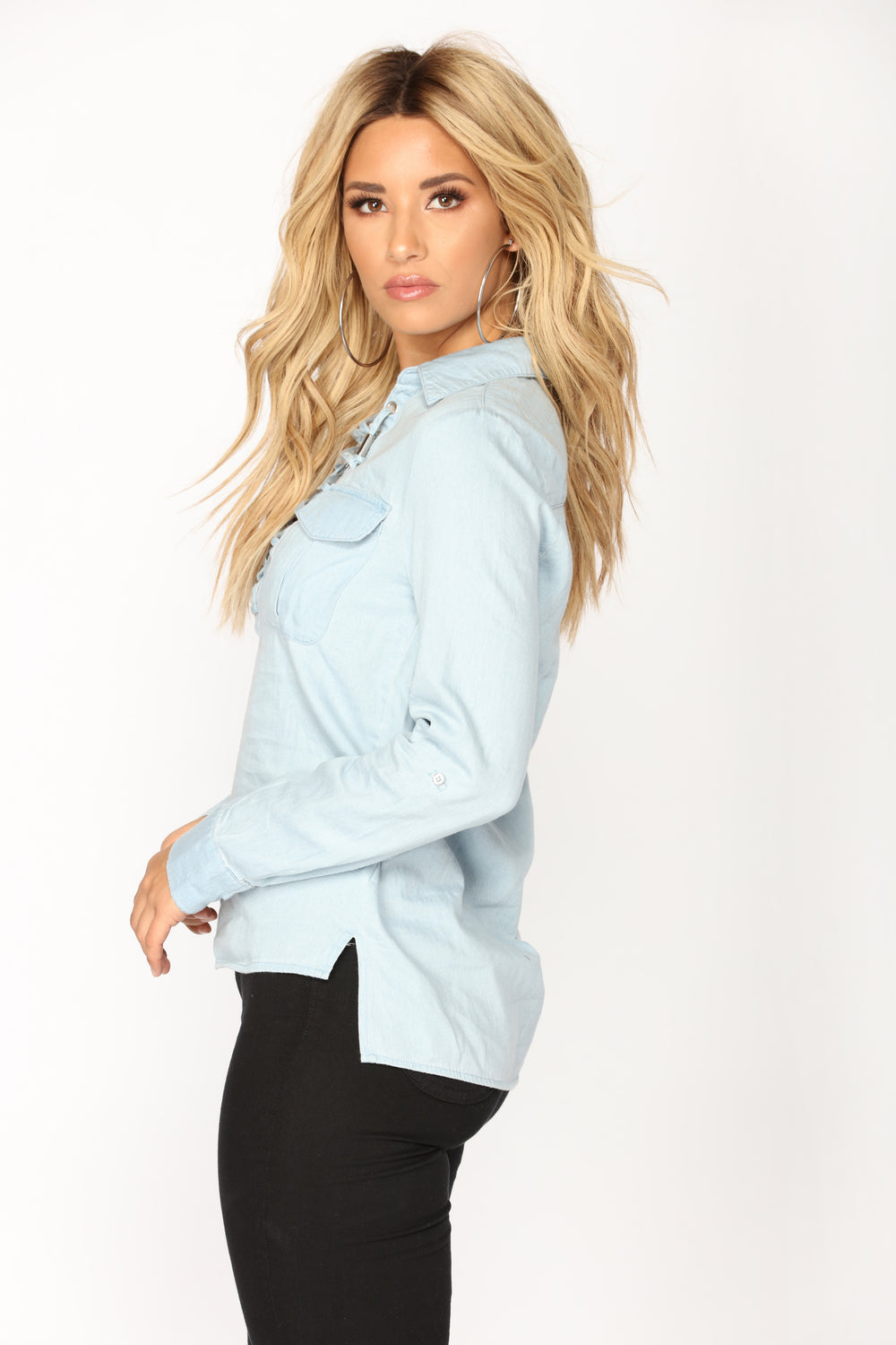 Leah Lace Up Shirt - Light Wash