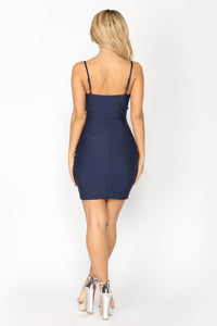 Yangtze Ruched Dress - Navy