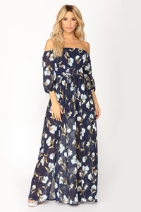 Morning Walk Floral Dress - Navy