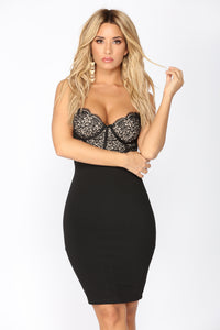 Roselle Lace Dress - Black/Nude