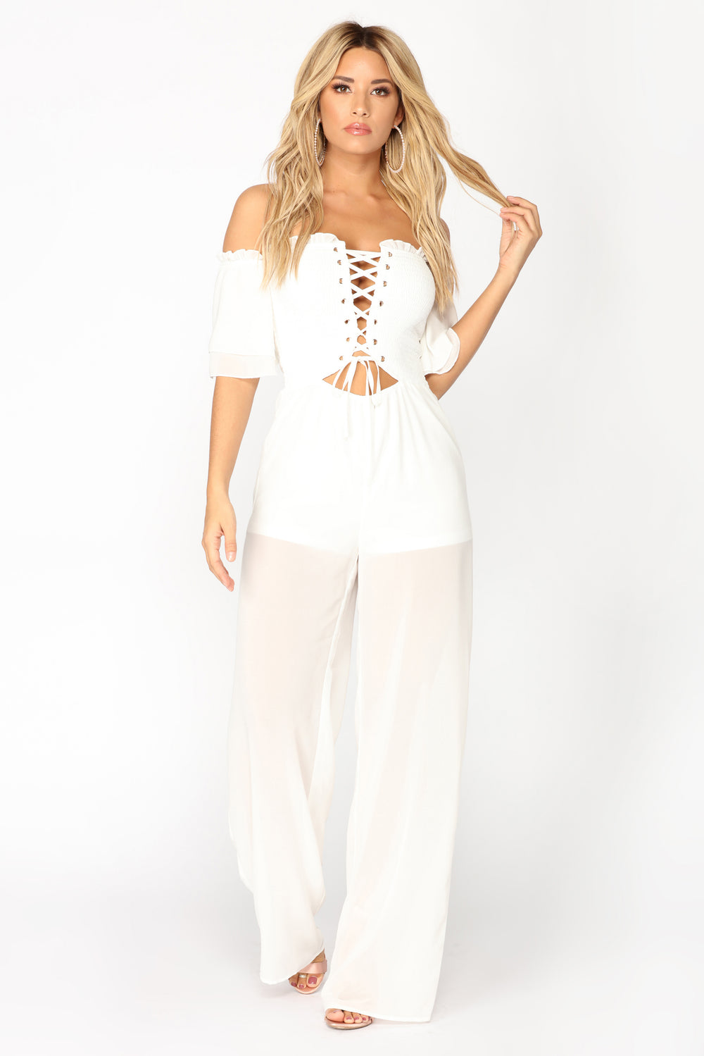 Set Sail Smocked Jumpsuit - White