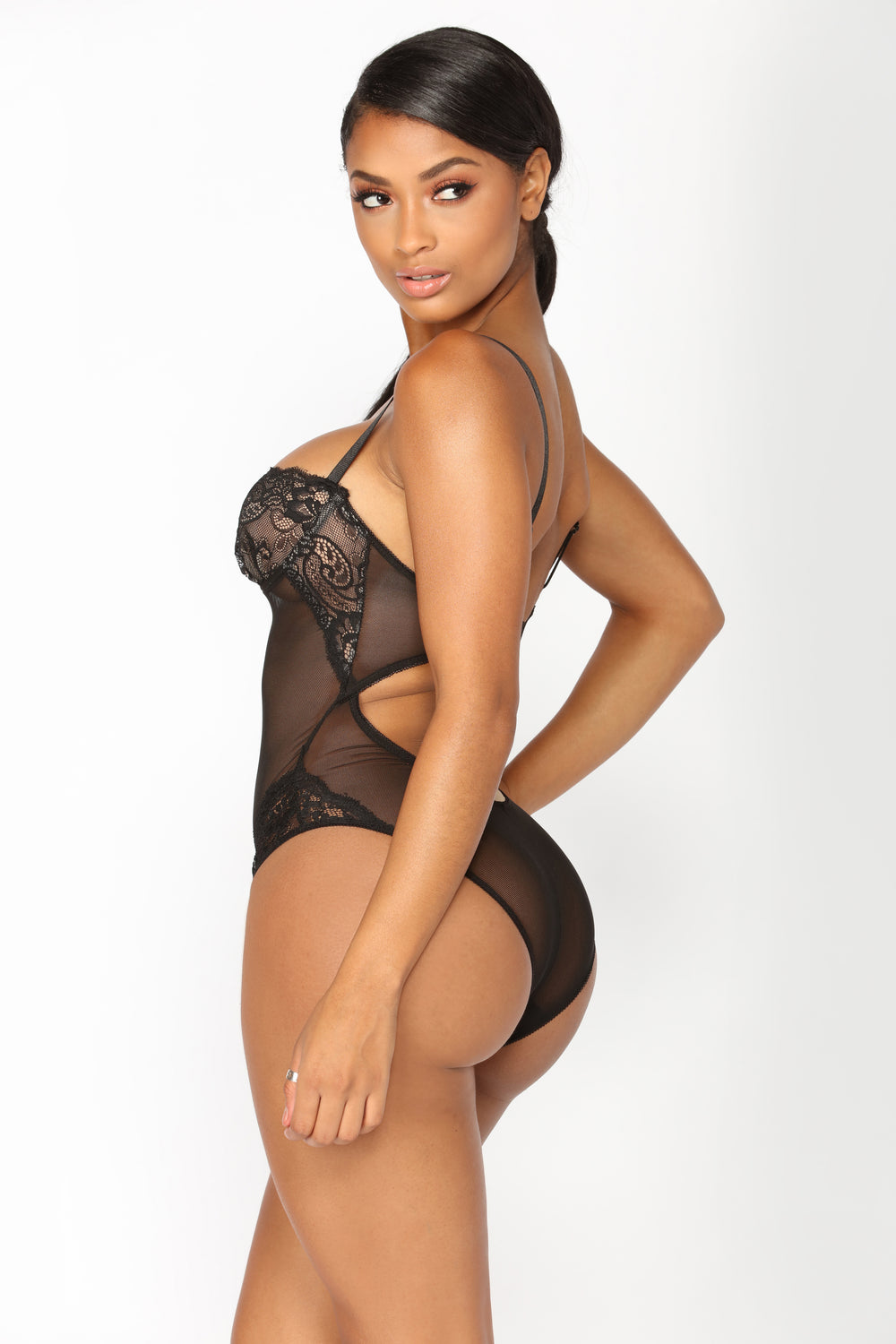 Sweetest Sin Mesh Teddy - Black