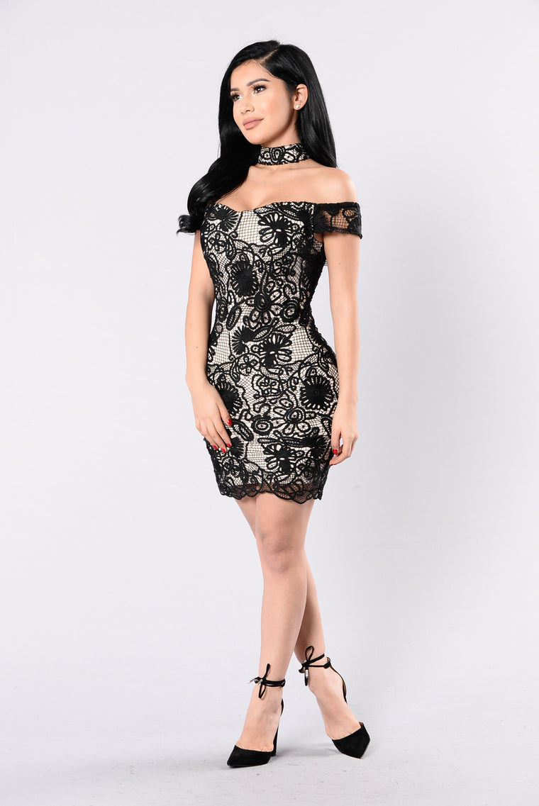 Private Eyes Dress - Black/Nude