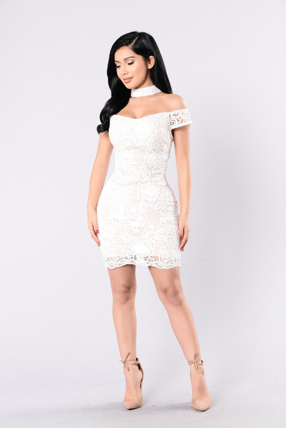 Private Eyes Dress - White/Nude