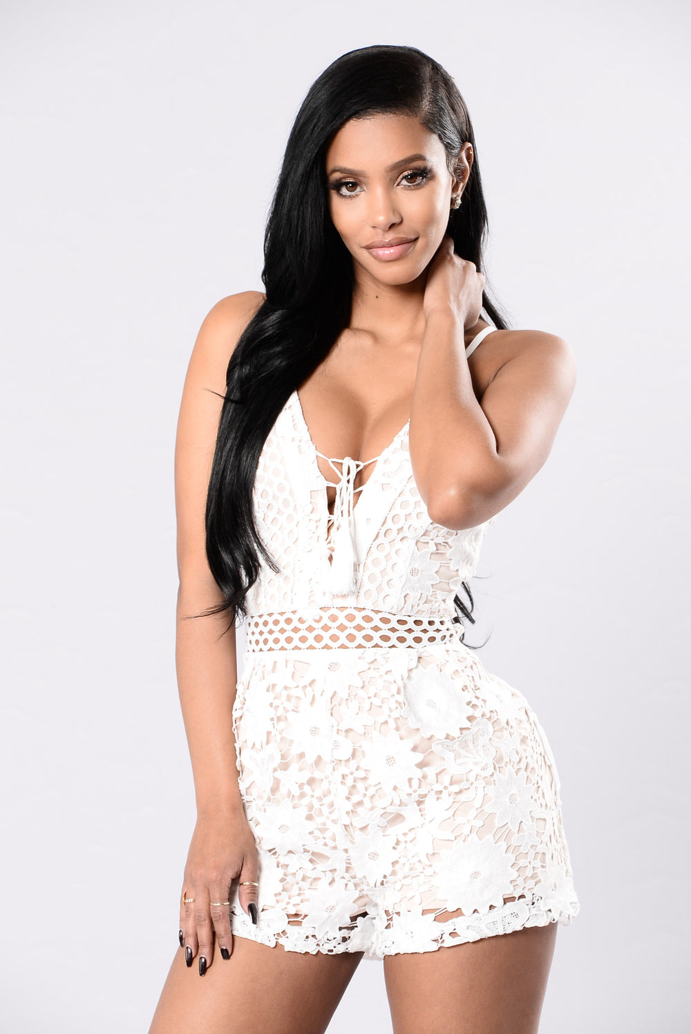 Don't Get It Twisted Romper - White/Nude