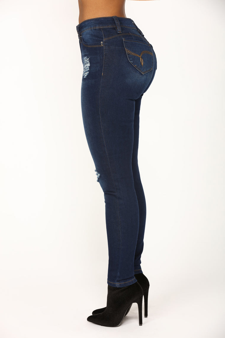 Clappers To The Front Booty Lifting Jeans - Dark Denim