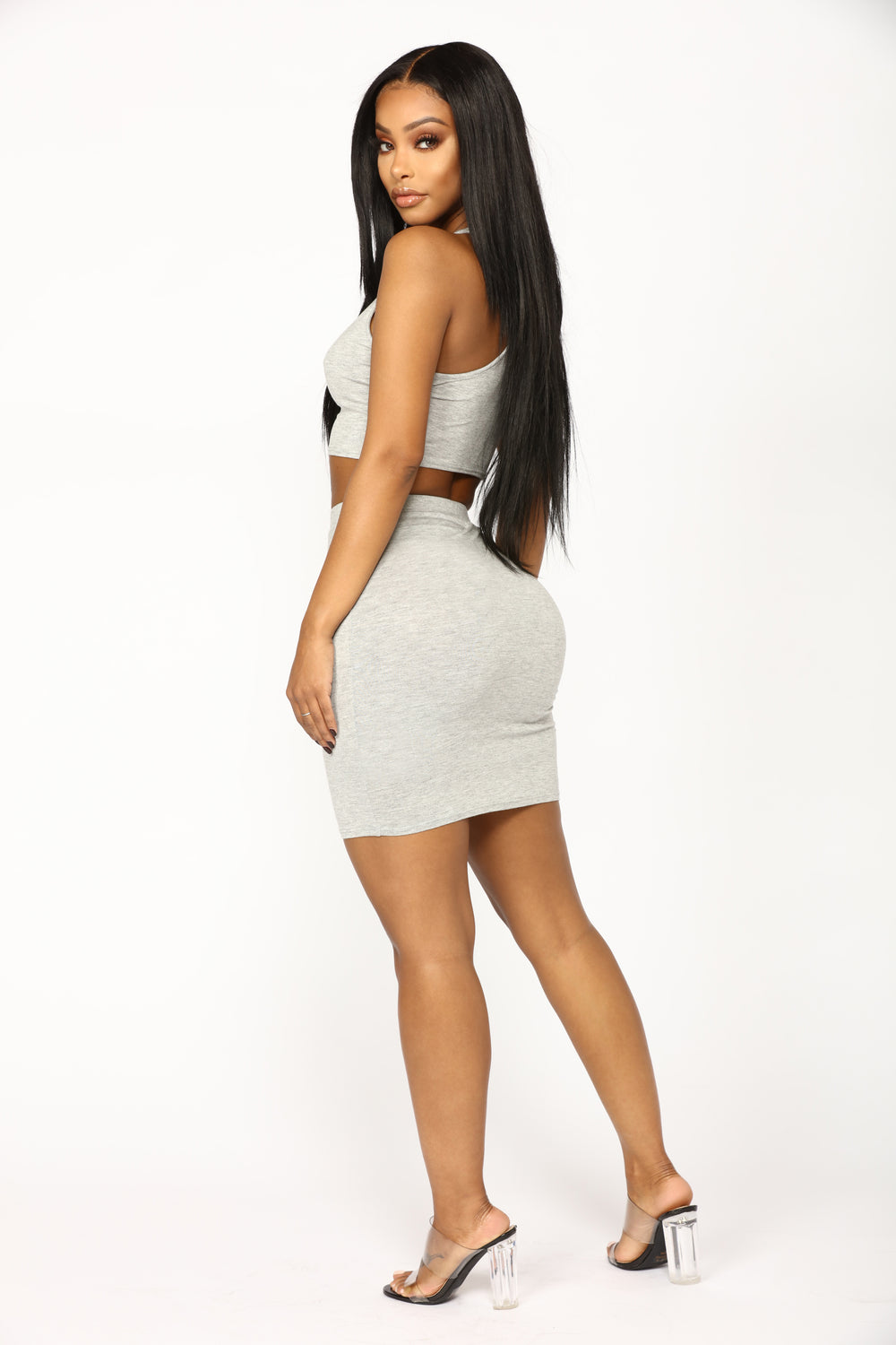 Heart Sigh Skirt Set - Heather Grey