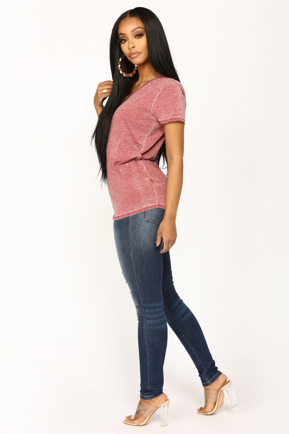 Jayla Short Sleeve Top - Burgundy