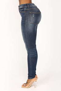 Causing A Commotion Skinny Jeans - Dark Denim