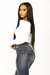 Marianna Long Sleeve Crop Top - Ivory