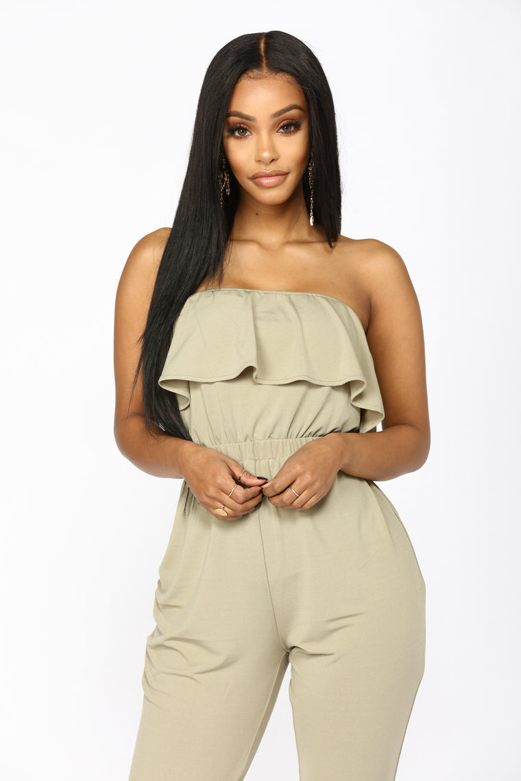 No Pressure Crop Jumpsuit - Olive