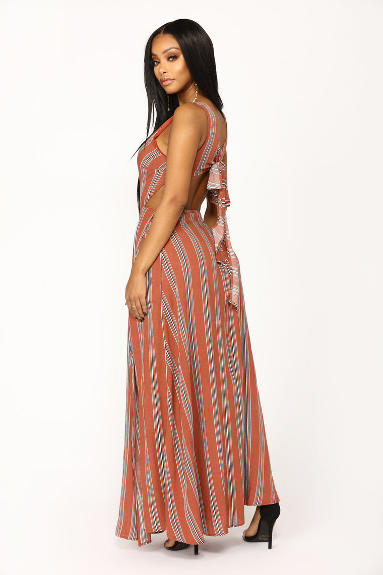 Curious Minds Stripe Dress - Rust/Black