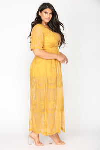 Set Our Love On Fire Dress - Mustard