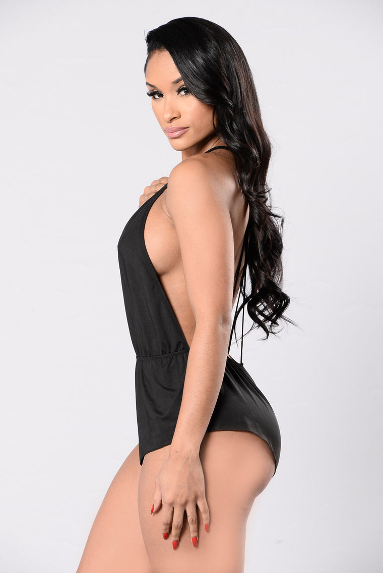 No Commitment Teddy Bodysuit - Black