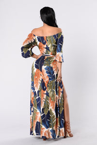 Night Moves Dress - Olive/Navy