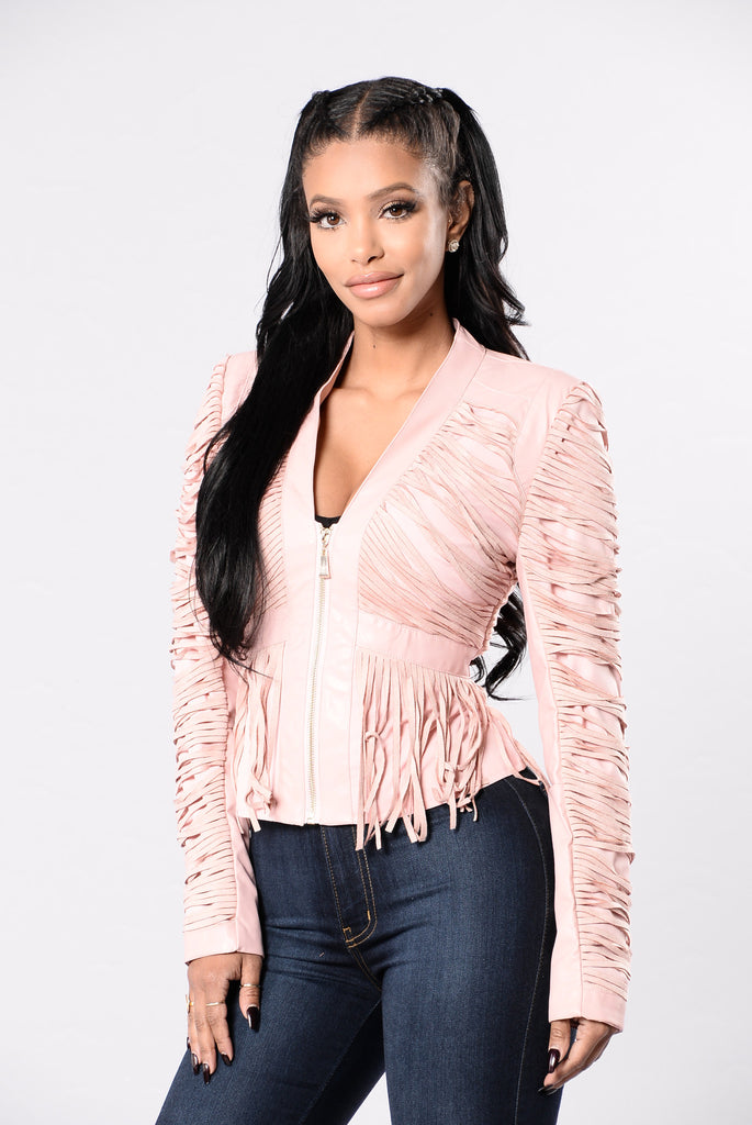 Fringe Binge Jacket - Blush