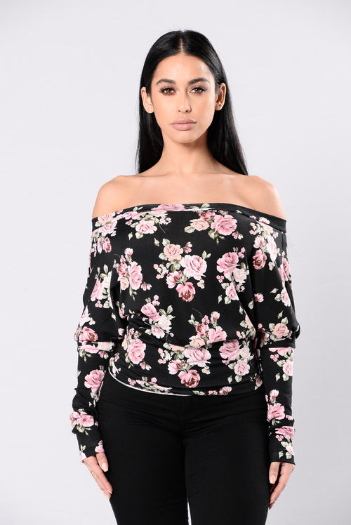 All Mighty Flower Top - Black