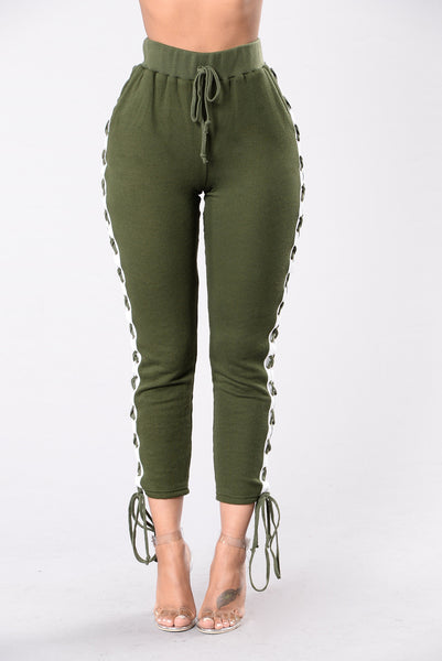 Break A Sweat Pants - Olive/White