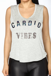 Cardio Vibes Active Tank Top - Heather Grey
