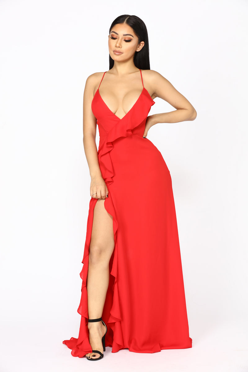Clarissa Ruffle Dress - Red