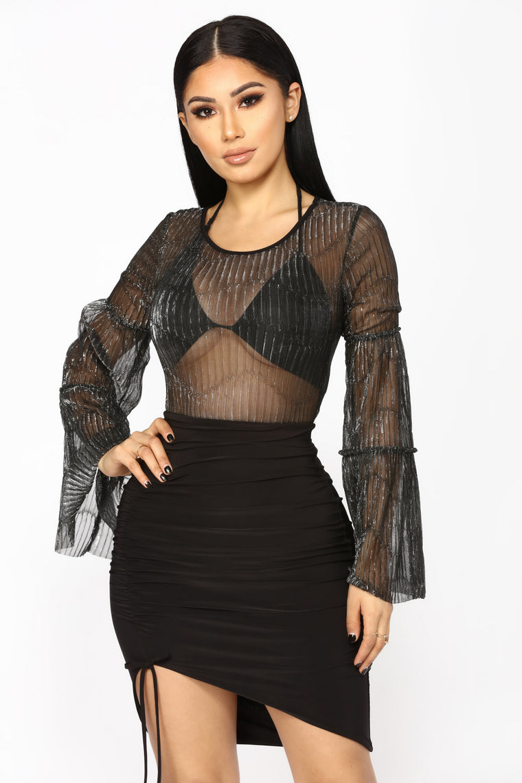Clear As A Bell Sheer Bodysuit - Silver