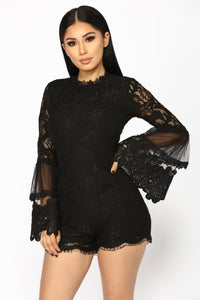 Darcey Lace Up Romper - Black