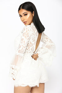 Darcey Lace Up Romper - White