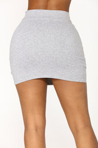Melanie Mini Skirt - Heather Grey Angle 4