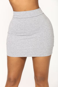 Melanie Mini Skirt - Heather Grey Angle 1