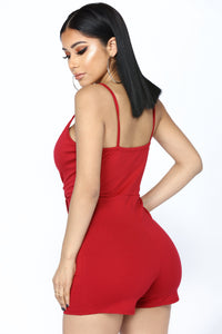 Liza Envelope Romper - Red