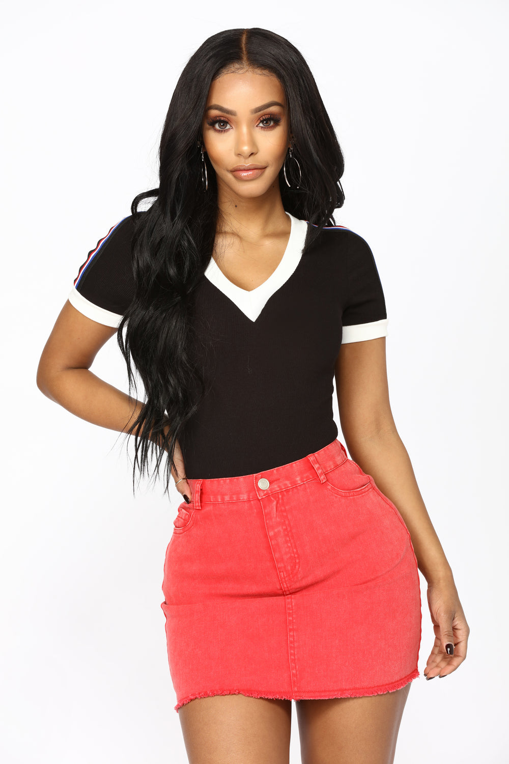 Wisconsin Striped Bodysuit - Black