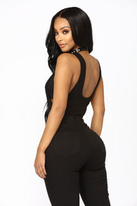 Lilianna Plunging Bodysuit - Black