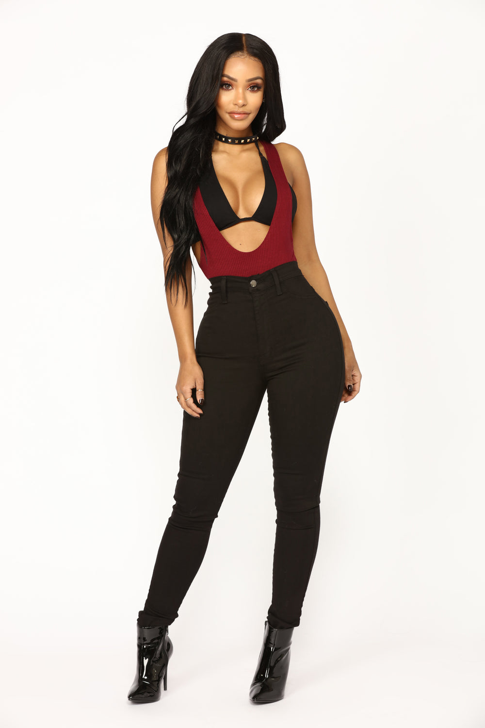 Lilianna Plunging Bodysuit - Wine
