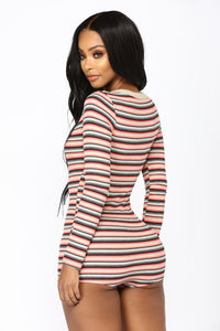 Glamping Striped Romper - Multi
