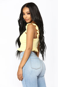 Revolver Ruffle Crop Top - Yellow