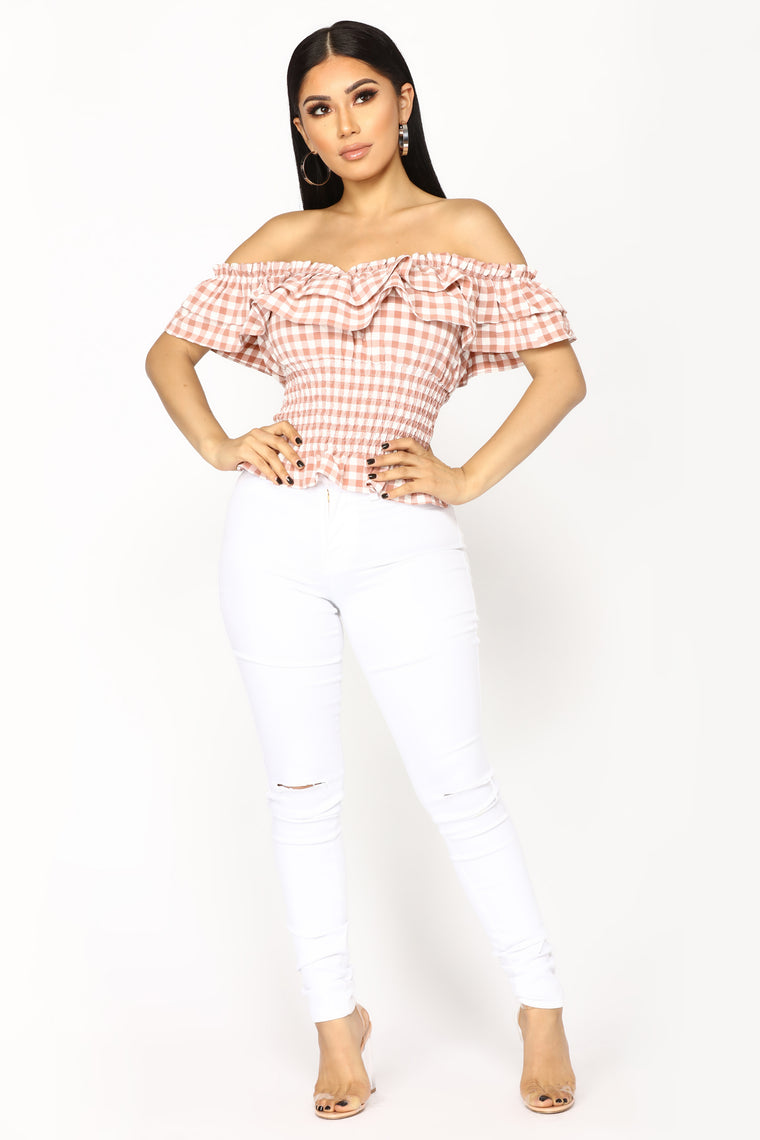 Madilyn Off Shoulder Top - Rust/White