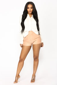 Per Suede Me Shorts - Rose Angle 1