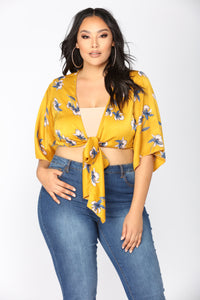 Giselle Satin Floral Top - Gold/Floral Angle 6
