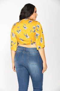 Giselle Satin Floral Top - Gold/Floral Angle 8