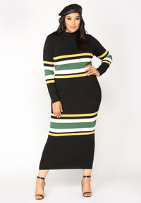 Picked Perfect Striped Dress - Navy Black Angle 5
