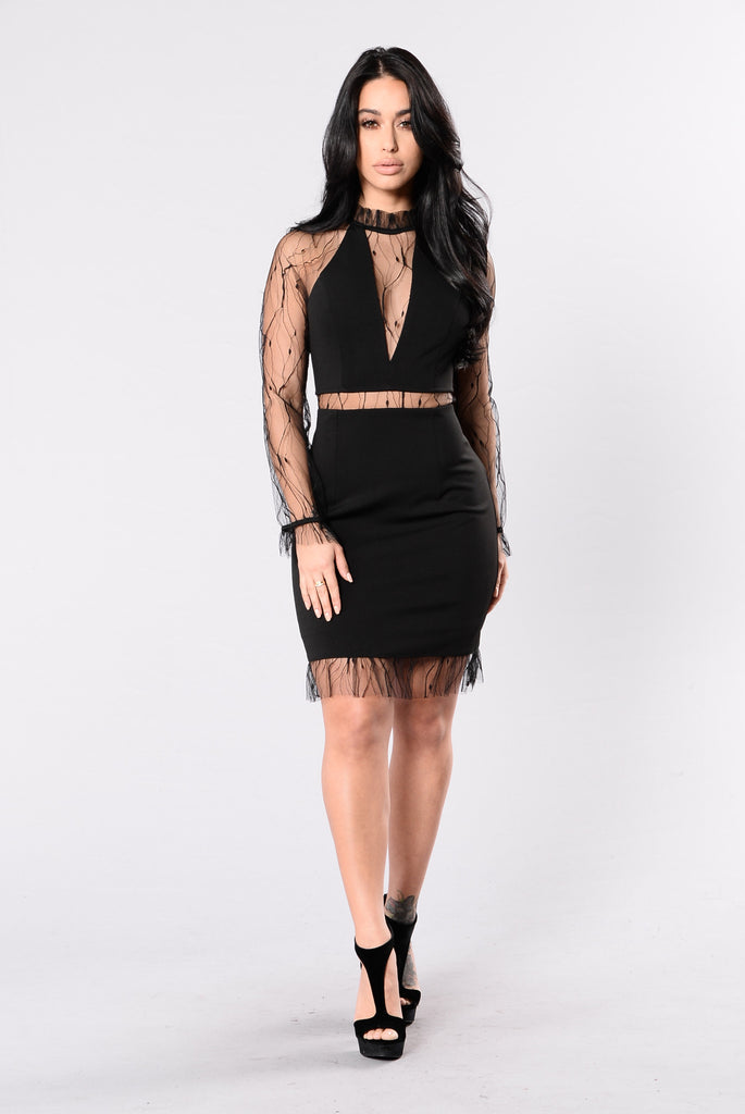 Sheer Delight Dress - Black