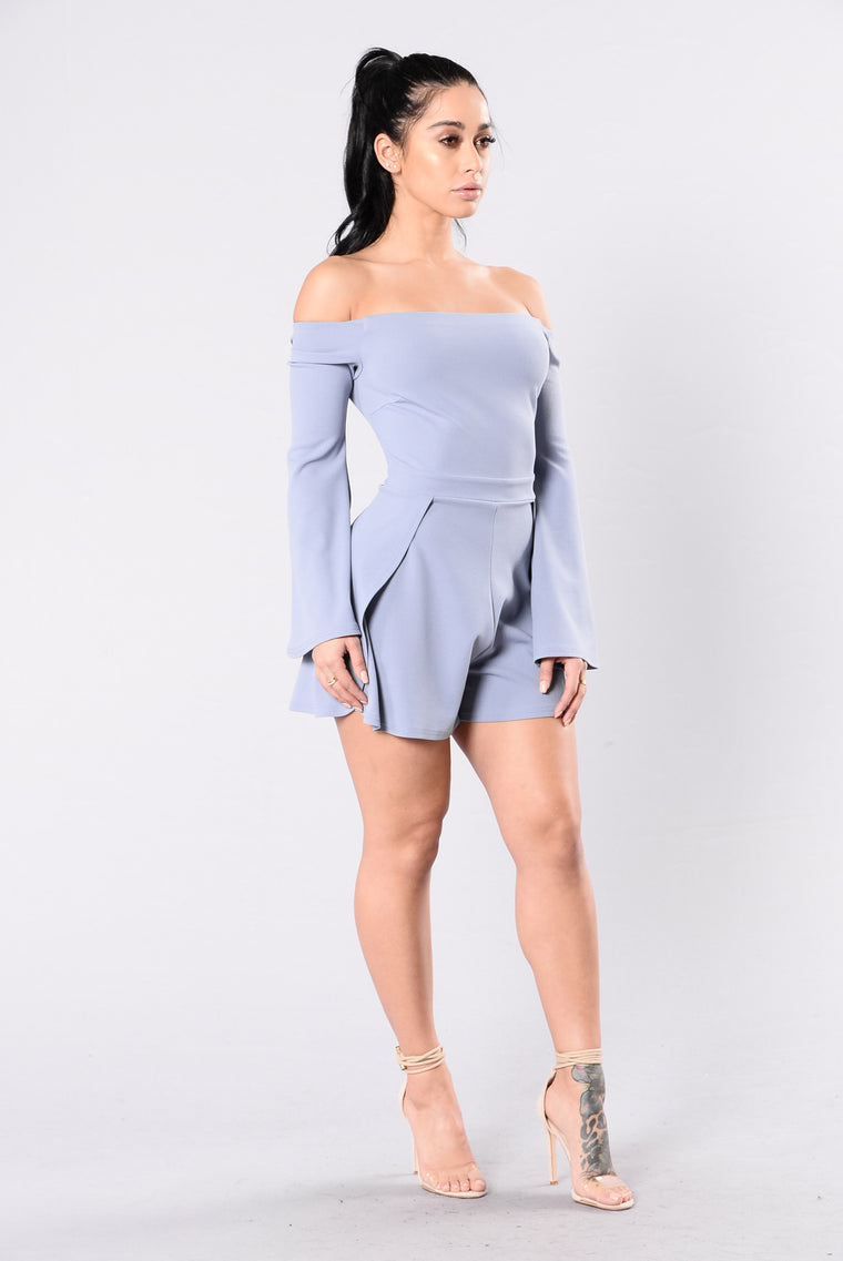 Blessed And Well Dressed Romper - Blue Grey